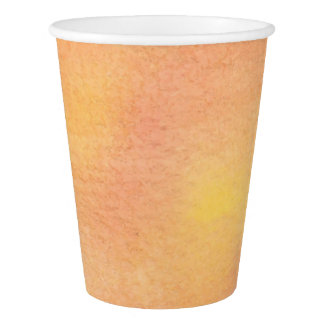 Watercolor Orange Pinks Paper Cup