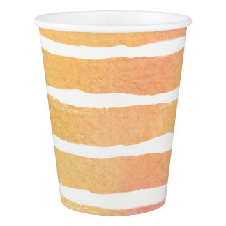 Watercolor Orange Pinks Striped Paper Cup