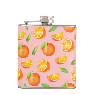 Watercolor Oranges Pattern Flask