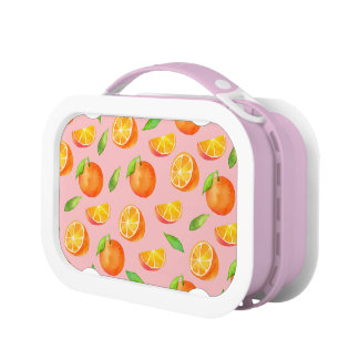 Watercolor Oranges Pattern Lunchboxes