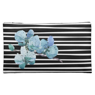 Watercolor Orchid Flower Black White Stripe Cosmetic Bag