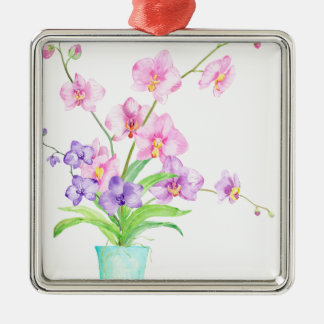 Watercolor Orchid in Pot Silver-Colored Square Decoration