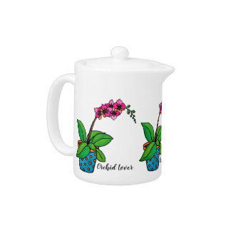 Watercolor Orchid Plant In Beautiful Pot