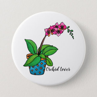 Watercolor Orchid Plant In Beautiful Pot 7.5 Cm Round Badge