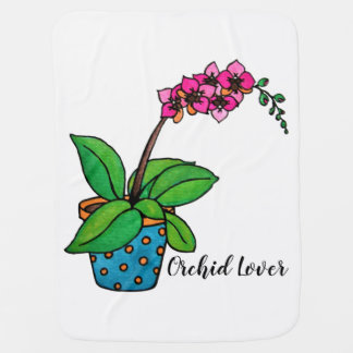 Watercolor Orchid Plant In Beautiful Pot Baby Blanket