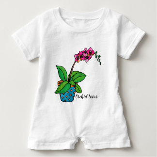 Watercolor Orchid Plant In Beautiful Pot Baby Bodysuit