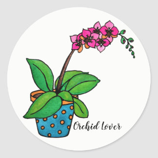 Watercolor Orchid Plant In Beautiful Pot Classic Round Sticker