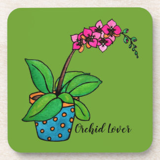 Watercolor Orchid Plant In Beautiful Pot Coaster