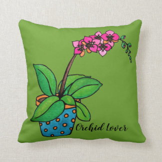 Watercolor Orchid Plant In Beautiful Pot Cushion