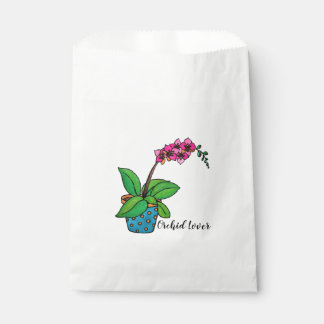 Watercolor Orchid Plant In Beautiful Pot Favour Bags