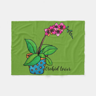 Watercolor Orchid Plant In Beautiful Pot Fleece Blanket
