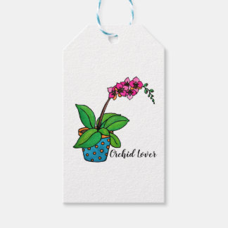Watercolor Orchid Plant In Beautiful Pot Gift Tags
