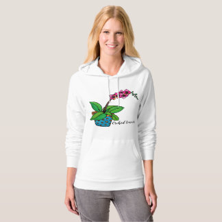 Watercolor Orchid Plant In Beautiful Pot Hoodie