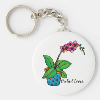 Watercolor Orchid Plant In Beautiful Pot Key Ring