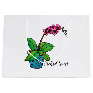 Watercolor Orchid Plant In Beautiful Pot Large Gift Bag