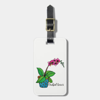 Watercolor Orchid Plant In Beautiful Pot Luggage Tag