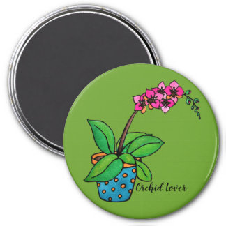 Watercolor Orchid Plant In Beautiful Pot Magnet