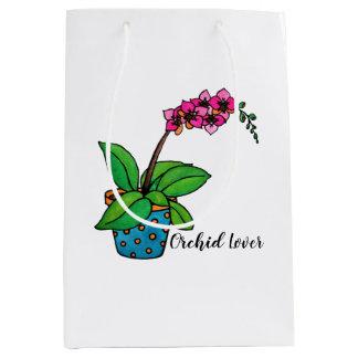 Watercolor Orchid Plant In Beautiful Pot Medium Gift Bag