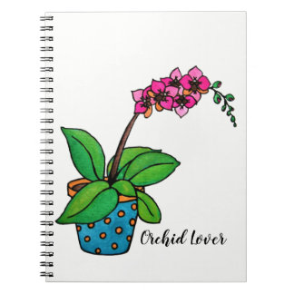 Watercolor Orchid Plant In Beautiful Pot Notebooks