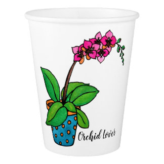 Watercolor Orchid Plant In Beautiful Pot Paper Cup