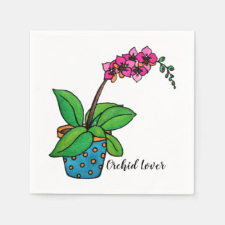Watercolor Orchid Plant In Beautiful Pot Paper Napkins