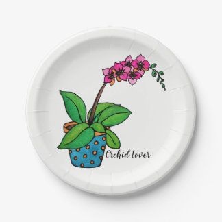 Watercolor Orchid Plant In Beautiful Pot Paper Plate