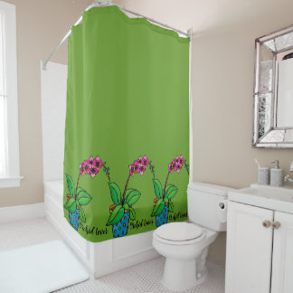 Watercolor Orchid Plant In Beautiful Pot Shower Curtain