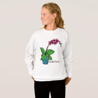Watercolor Orchid Plant In Beautiful Pot Sweatshirt