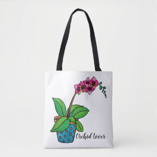 Watercolor Orchid Plant In Beautiful Pot Tote Bag