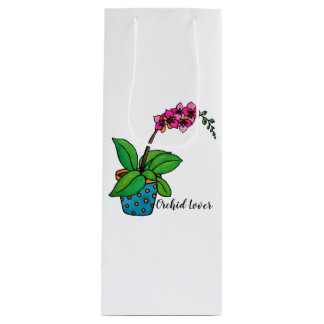 Watercolor Orchid Plant In Beautiful Pot Wine Gift Bag