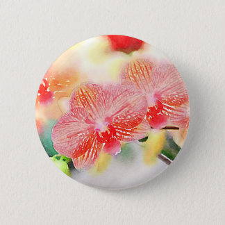 Watercolor Orchids 6 Cm Round Badge