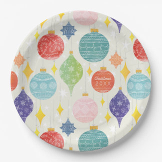 Watercolor Ornament Christmas Custom Text Paper Plate