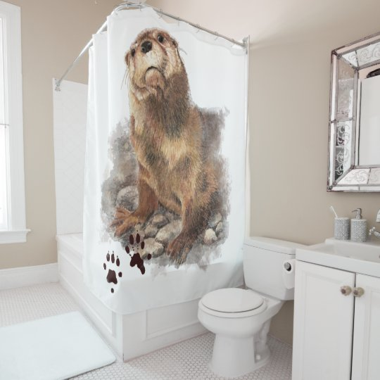 Watercolor Otter Animal Nature Art Shower Curtain