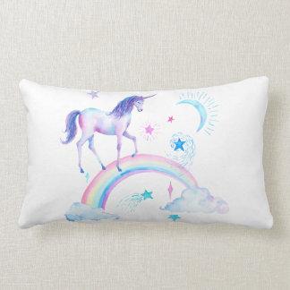 Watercolor Over the Rainbow Unicorn Lumbar Cushion