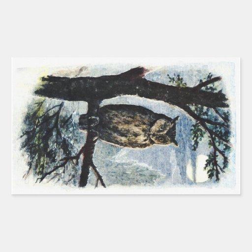 Watercolor Owl Art Rectangular Stickers