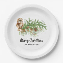 Watercolor Owl Christmas Party Paper Plate