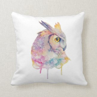 Watercolor Owl Cushion