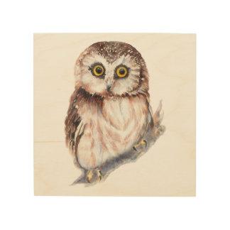 Watercolor Owl Cute Bird Animal Nature Art Wood Print