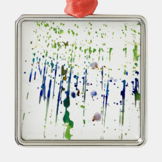 Watercolor paint flecked Silver-Colored square decoration