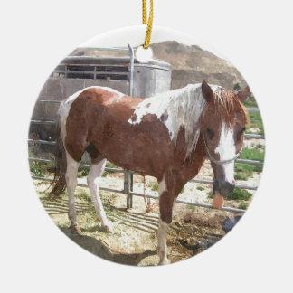 Watercolor Paint Horse Round Ceramic Decoration