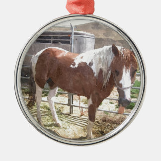 Watercolor Paint Horse Silver-Colored Round Decoration