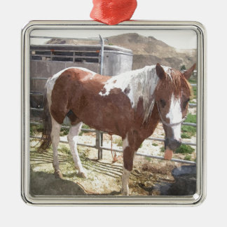 Watercolor Paint Horse Silver-Colored Square Decoration