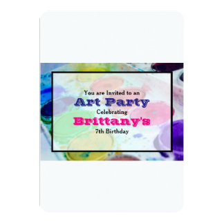 Watercolor Paint Palette Art Themed Birthday Party 13 Cm X 18 Cm Invitation Card