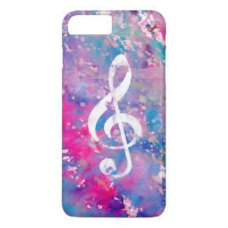 Watercolor paint pink teal music note treble clef iPhone 8 plus/7 plus case