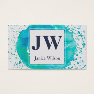 Watercolor Paint Splatter Blue Teal Monogram Business Card