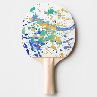 Watercolor Paint Splatters Ping Pong Paddle