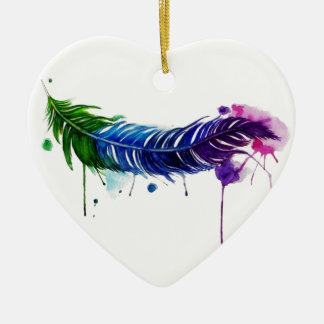Watercolor Painted Feather Ornaments