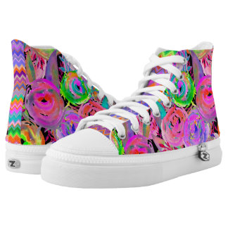 WATERCOLOR PAINTED FLOWERS FUCHSIA GREEN HIGH TOPS