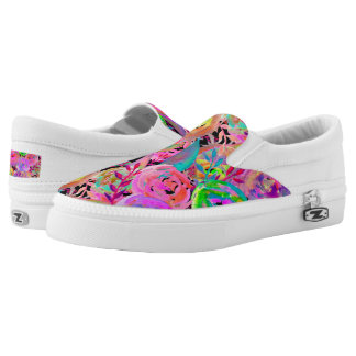 WATERCOLOR PAINTED FLOWERS FUCHSIA GREEN SLIP ON SHOES