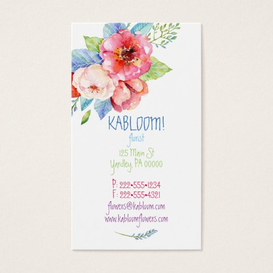 Watercolor Painted Flowers Multi Colour Floral Business Card